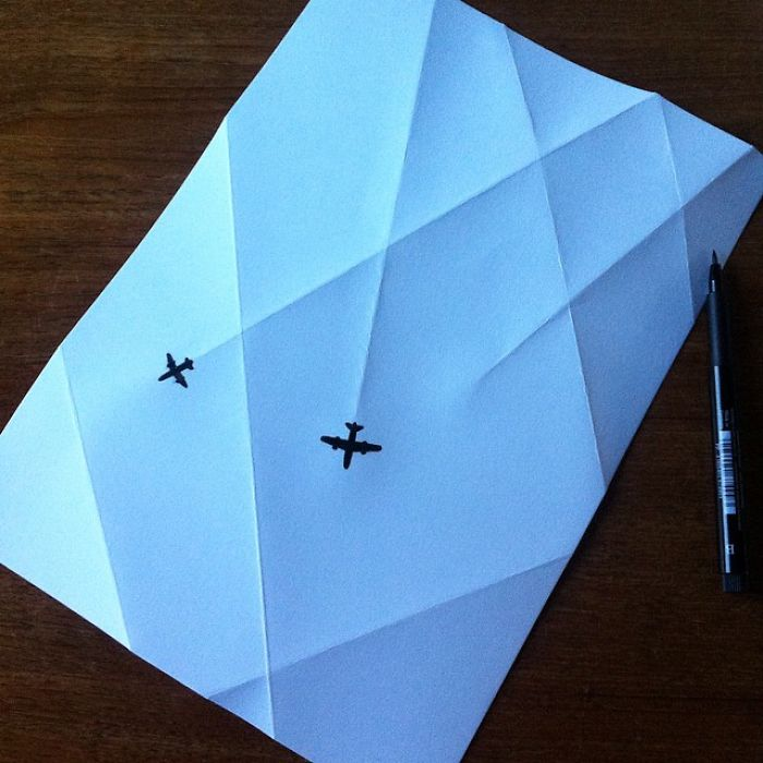 plane-lines-3d-paper-art-huskmitnavn