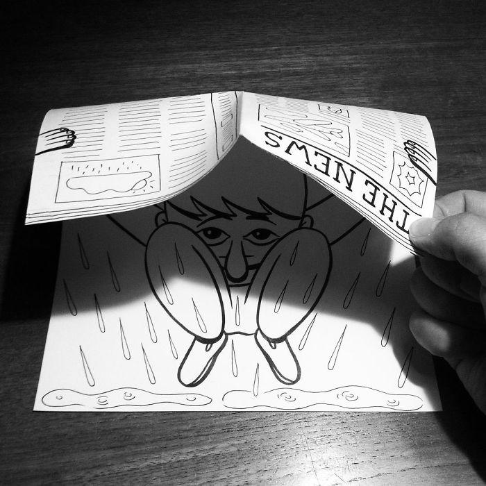 shielding-from-rain-3d-paper-art-huskmitnavn